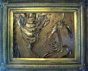 Bronzed Gold Original #1 in Bombay Co Frame with room light on